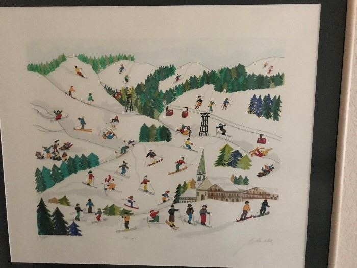 Signed Skiing Art