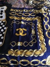 2 Authentic Chanel Silk Scarves
