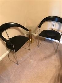Italian Mid Century Modern Steel and Leather Chairs