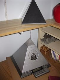 Radio Shack Pyramid Stereo with two pyramid speakers.