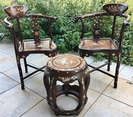 Gorgeous pair of matching Chinese solid inlaid rosewood corner chairs with matching garden stools. Stool: $500 each