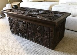 Salvadoran hand-carved cedar chest / coffee table. $400
