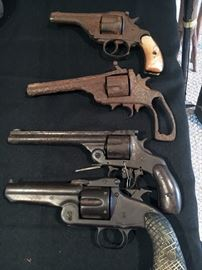 Antique pistols. H&R and from Spain (bottom). Top break action on all of them. Mid 1800's (19th Century). Prices on next pictures.