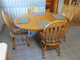 Maple Dinette Table with (4) Slat Back Chairs
