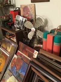1950s Thermos Sets, Metal Fan, Vintage Binoculars, Vintage Camera Equipment, Original Artwork by local Detroit Artist