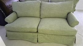 One of 2 Green Miles Talbott Loveseats - Made in NC