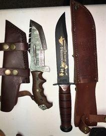 damascus knive and kabar