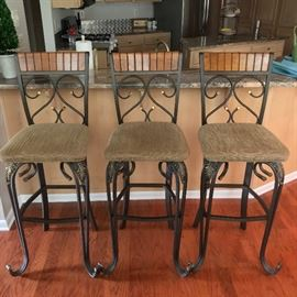 "high end, solid, iron & wood bar stools (49"" height)"