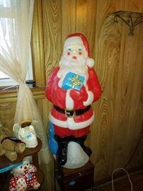 Vintage plastic light up santa