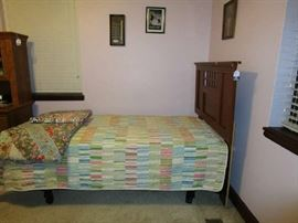 Twin bed, quilts