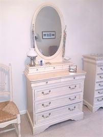 Whitewash dresser with mirror