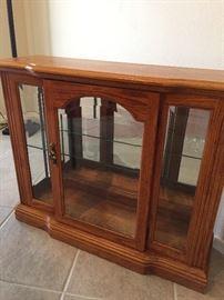 Oak glass front cabinet