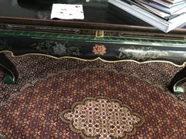 Antique black coffee table, Asian inspired