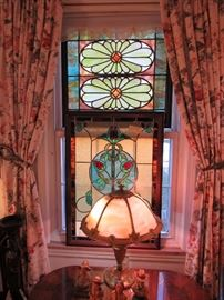 Gorgeous antique Leaded Stained Glass Windows, a few  from local landmark buildings, Swag Glass Lamps, Anri Carvings
