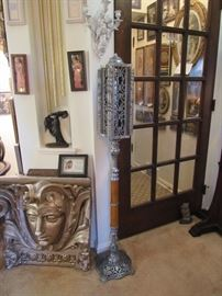 Architectural pieces and antique standing Sanctuary or Mortuary Funeral Prayer Card Holder Lamps (candle).