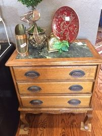 Marble top 3-drawer chest