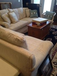 Formal white sofa and matching loveseat; cedar chest