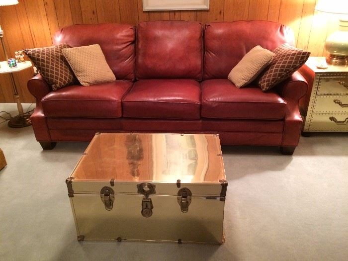 Klingmanu0027s Leather Couch; Brass Clad Steamer Trunk.
