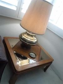 Solid Wood Corner Table, Brass Lamp
