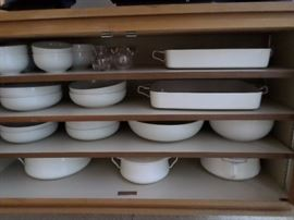 Dansk all white service for 8 + Dansk enamel cookware in various sizes