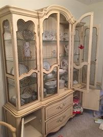 Fab French Provencial dining set.  China cabinet, table, chairs.  By Mt. Airy Furniture Co.