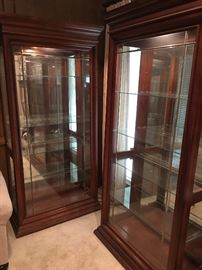 Matching Tall Lighted Glass Display Cases