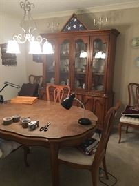 Dining Room Table, 6 Chairs with Matching China Cabinet