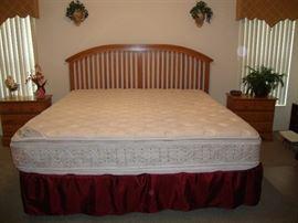 King bedroom set, double pillow top mattress