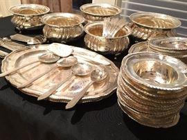 Thali Dinner Set, for Twelve, in solid Indian Silver