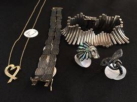 Paloma Picasso 18k Diamond Encrusted Heart, Julian Moore Damask Steel and Gold Bracelet, Sterling Jewelry