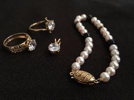 14k Rings and Pendant (not diamonds), Mikimoto Pearl Bracelet