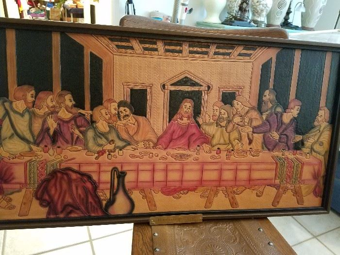 Leather tooled Lord Supper