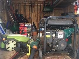 Coleman Powerhouse 4000 8HP Generator, Neuron Electric Lawn Mower, Chainsaws, Blowers, Lawn Tools