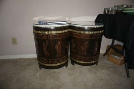 Authentic drums/glass tops  used as end tables
