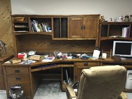 This is a fantastic oak desk unit -- there is a matching file cabinet as well.