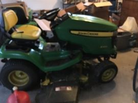 This is a big John Deere (320X)  that is only five years old -- original purchase price $4,200-plus.  Cutting season is over but this is a perfect time to pick up your tractor so you are ready for next year!  Failing to prepare is preparing to fail!