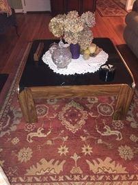 Mid century coffee table, good quality area rug