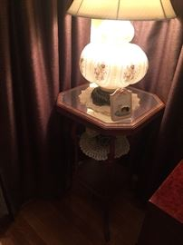 Painted antique lamps, glass top cherry table