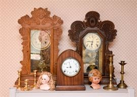 Clocks, Dolls, Brass Candlesticks