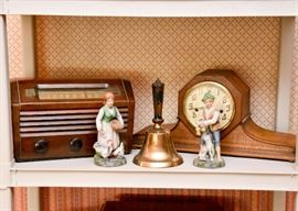Radio, Clock Collectible Figurines, Large Brass Bell