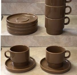 Set of four Bauhaus mod coffee cups with saucers