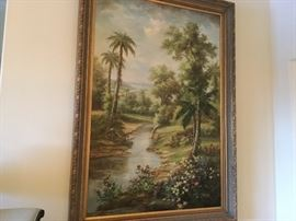 """Large statement painting of Florida scene, beautifully framed, 6 1/2 ft. X 4' 7"""", by Gabrielo"""