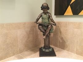 "Bronze figure of girl reading, set on pedestal, 25"" H"