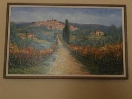 Original oil painting from Tuscany of Cortona, Italy, wooden framed with linen matting