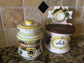 A Santa Maria Novella apothecary jar from Florence, Italy, Italian ceramic salt box for your kitchen, hinged wooden lid, can be put on counter or hung on wall