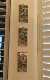 Set of 6 profession tiles, hand-painted in Italy: professor, architect, teacher, merchant, jeweler, and judge