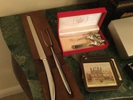 Vintage carving set from 1972 with today's modern look, in original wooden holder, shell motif cheese knife and fork set in original gift box,  from England, a set of coasters with various London scenes on each