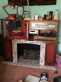Ultra Retro Combination Fireplace, AM/FM Radio, Turntable, Rotating Bar and Album Holder