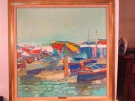 """Nicola Simbari Italian oil painting """"Summer at Cuma"""" 31 x 31 inches. EST. $4000-6000."""