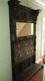 1800's European Antique Hand Carved Entry Hall Bench